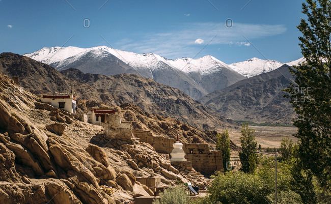 India- Ladakh- Leh- Buddhist monastery in Himalayas
