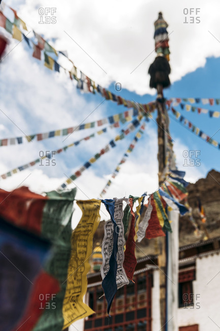 Colorful prayer flags hanging outdoors