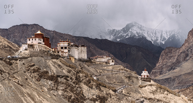 India- Ladakh- Panorama of secluded Buddhist monastery in Himalayas