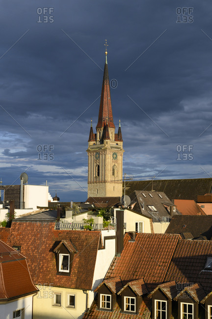 Germany- Baden-Wurttemberg- Radolfzell am Bodensee- Cloudy sky over bell tower of Cathedral of Our Dear Lady