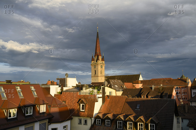 Germany- Baden-Wurttemberg-Radolfzellam Bodensee- Cloudy sky over bell tower of Cathedral of Our Dear Lady