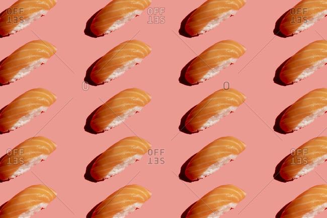 Pattern of salmon nigirizushi pieces