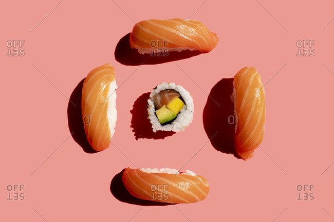 Studio shot of salmon nigirizushi pieces