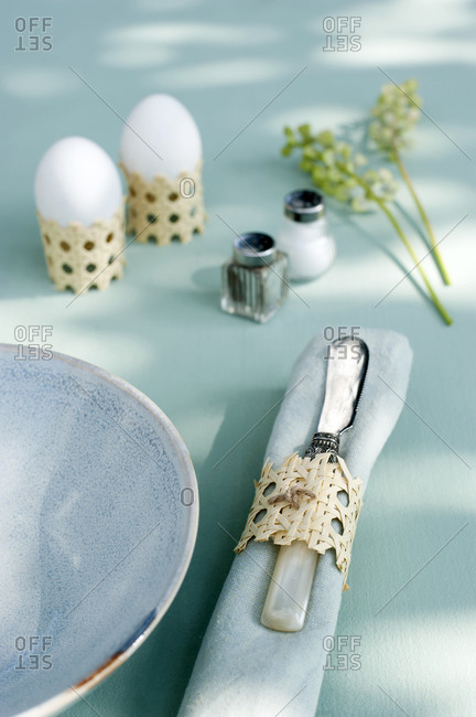 Egg cup - candle holder and napkin ring made of Viennese braid