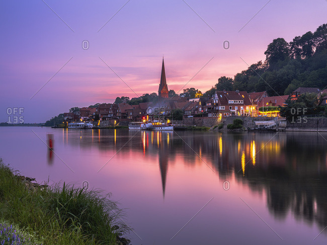 June 11, 2019: Germany- Schleswig-Holstein- Lauenburg- Elbe-Lubeck Canal at purple dusk