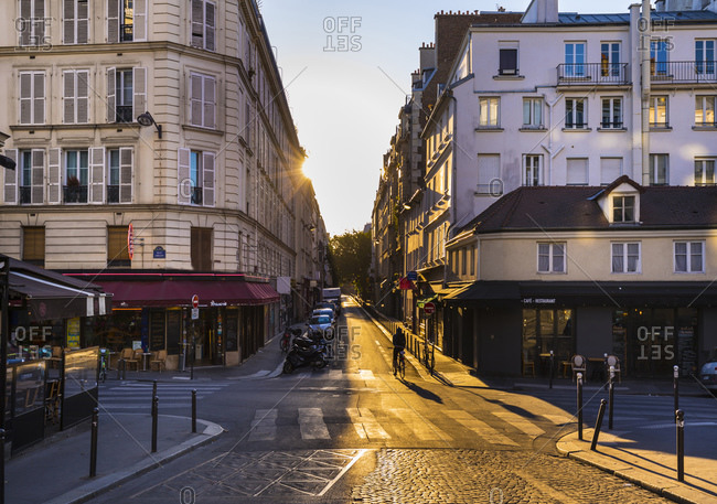 July 4, 2019: Road by buildings against clear sky during sunset- Paris- France