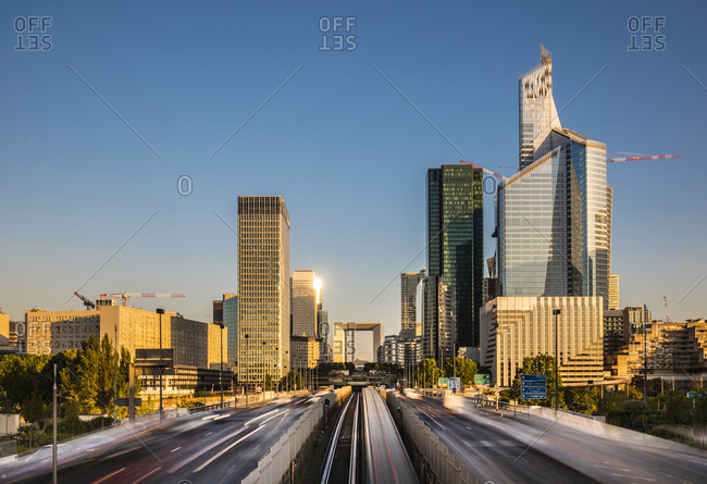 July 2, 2019: La Defense- Paris- France- View from highway