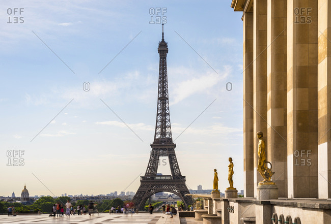 Eiffel Tower against cloudy sky- Paris- France
