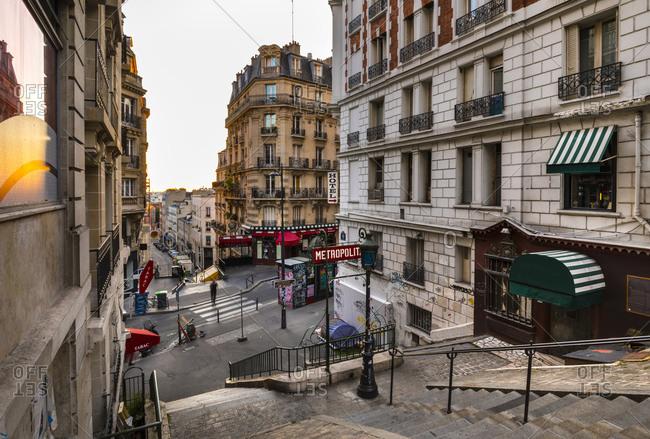July 3, 2019: Empty steps of Montmartre in Paris- France