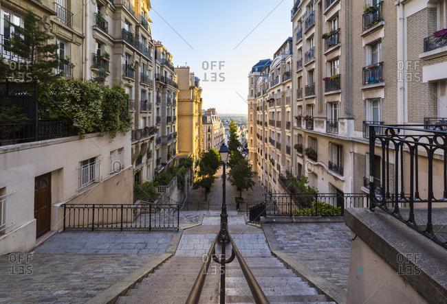 Empty steps of Montmartre in Paris- France
