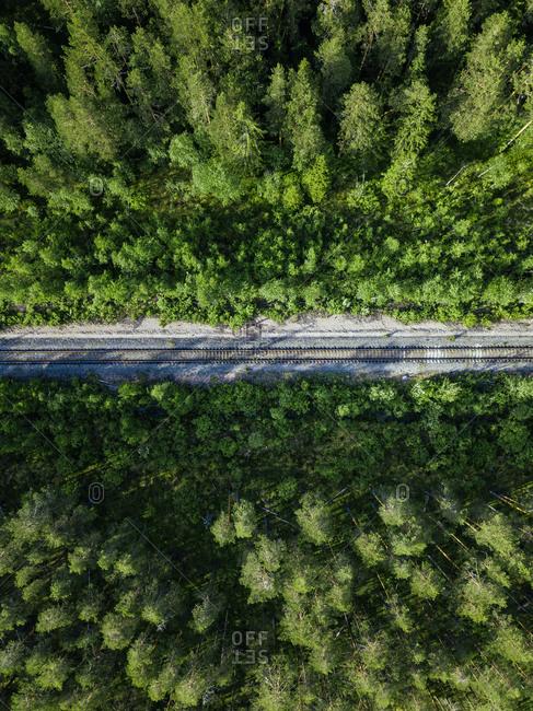 Russia- Petrozavodsk Oblast- Karelia- Railroad track crossing forest- aerial view