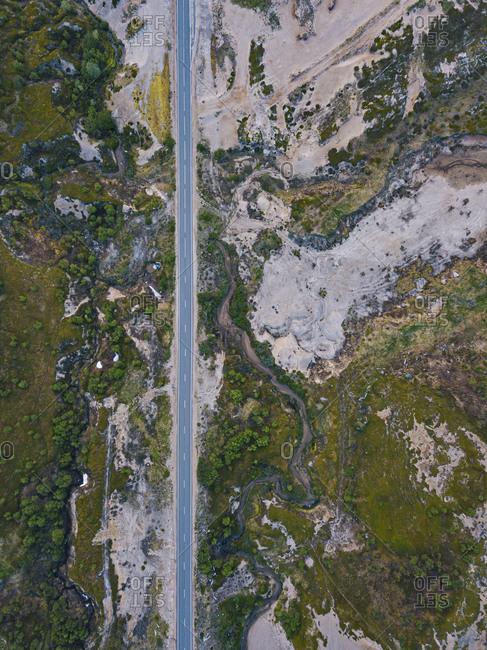Russia- Murmansk Oblast- Teriberka- Aerial view of straight alpine road