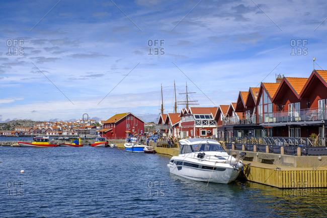 Sweden- Vastra Gotaland County- Skarhamn- Marina of coastal town