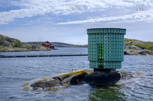 June 16, 2019: Sweden- Vastra Gotaland County- Skarhamn- Structure in front of Nordic Watercolor Museum