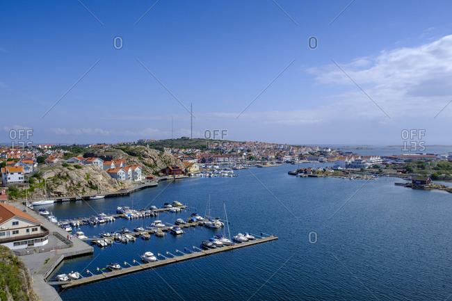 Sweden- Vastra Gotaland County- Sotenas- Marina of coastal town in summer