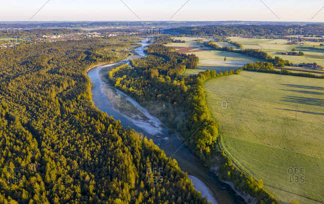 Germany- Bavaria-Geretsried- Aerial view of river Isar in summer