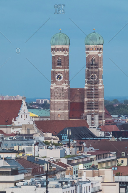 Germany- Bavaria- Munich- Aerial view of houses in front ofFrauenkirche