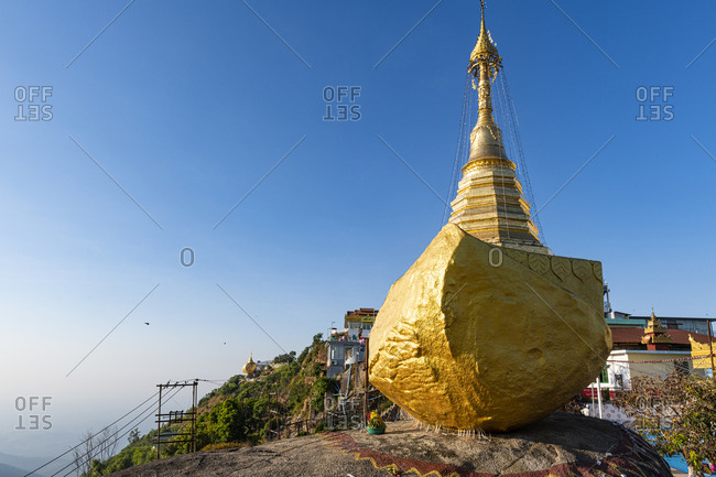 January 9, 2020: Myanmar- Mon state- Kyaiktiyo Pagoda- Golden rock