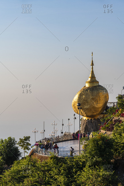 January 9, 2020: Myanmar- Mon state- Kyaiktiyo Pagoda- Golden rock at sunset