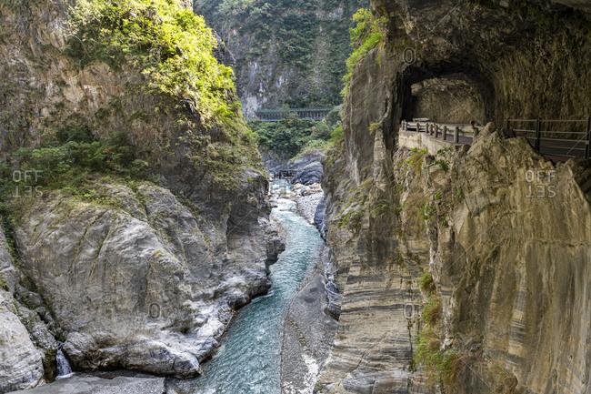Taiwan-Hualiencounty-TarokoNational Park-Tarokogorge with road and tunnel