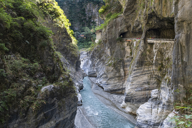 Taiwan- Hualien county- Taroko National Park- Taroko gorge with road and tunnel