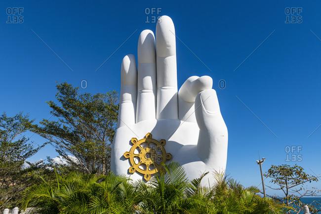 December 21, 2019: China- Hainan- Sanya- Giant hand sculpture in Nanshan Temple