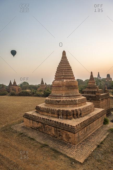 Myanmar- Mandalay Region- Bagan- Ancient stupas at dawn