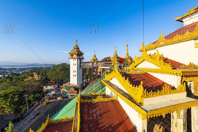 January 11, 2020: Myanmar- Mon State- Mawlamyine- Ornate roofs of Kyaikthanlan Pagoda