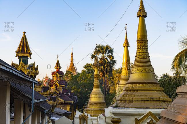 Myanmar- Mon State- Mawlamyine- Golden stupas of Kyaikthanlan Pagoda