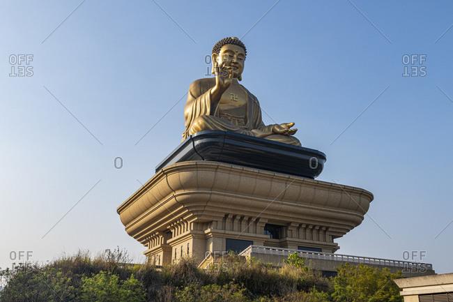 Taiwan- Dashu District- Kaohsiung- Golden Buddha statue in Fo Guang Shan Monastery