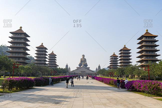 December 15, 2019: Taiwan- Dashu District- Kaohsiung- Pagodas in garden of Fo Guang Shan Monastery