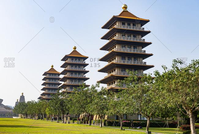 Taiwan-DashuDistrict- Kaohsiung- Pagodas in garden ofFoGuangShanMonastery