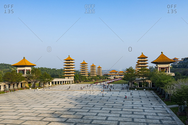 Taiwan- Dashu District- Kaohsiung- Clear sky over pagodas in garden of Fo Guang Shan Monastery