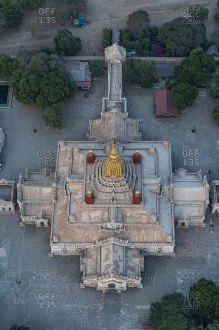 Myanmar- Mandalay Region- Bagan- Aerial view of Ananda Temple