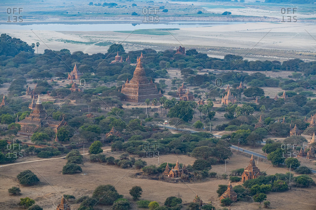 Myanmar- Mandalay Region- Bagan- Aerial view of ancient stupas