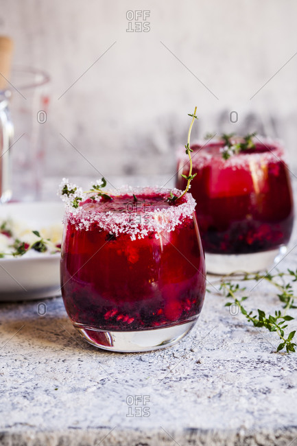 Wild berry thyme smash with wild berries- thyme- tequila- and sparkling water
