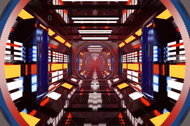 Three dimensional render of brightly illuminated space ship corridor