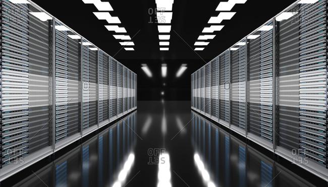 Three dimensional render of modern server room