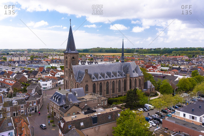 Netherlands- South Holland- Noordwijk- Aerial view of town church