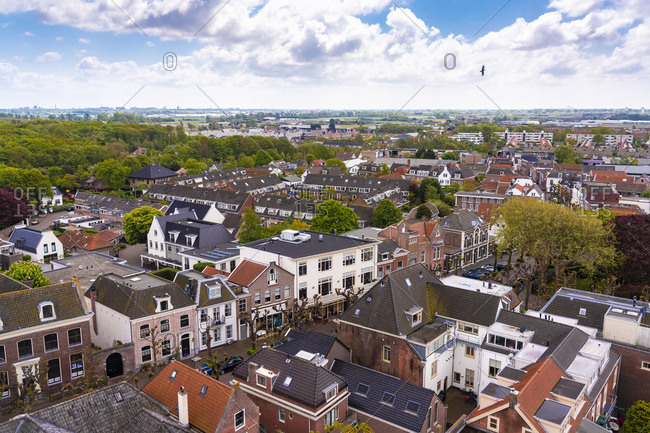 May 5, 2019: Netherlands- South Holland- Noordwijk- Aerial view of town houses
