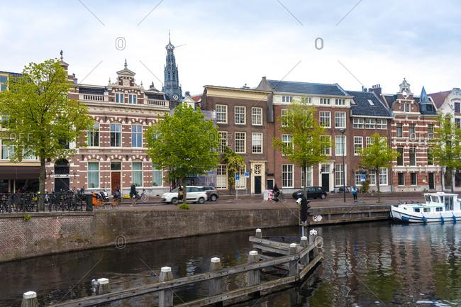Netherlands- North Holland- Haarlem- Historic houses along Binnen Sparne canal