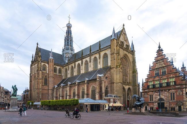 Netherlands- North Holland- Haarlem- Grote Kerk cathedral on Grote Markt square