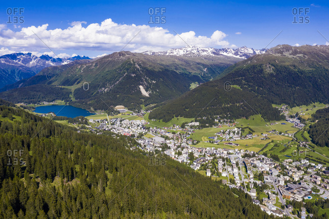 Switzerland- Canton of Grisons- Davos- Aerial view of alpine town in summer