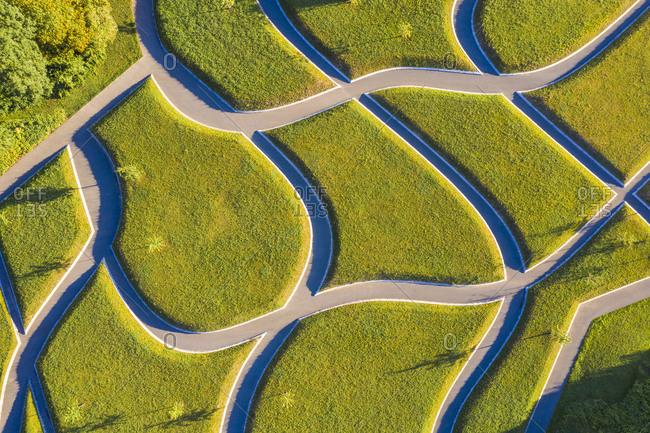 Germany- Baden-Wurttemberg- Stuttgart- Aerial view on intersecting footpaths inKillesbergpark