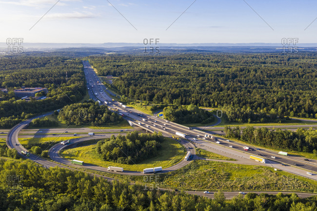 Germany- Baden-Wurttemberg- Stuttgart- Aerial view of traffic on Autobahn A8