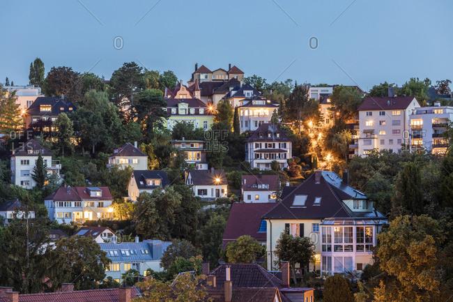 Germany- Baden-Wurttemberg- Stuttgart- Villas in Relenberg district at dusk