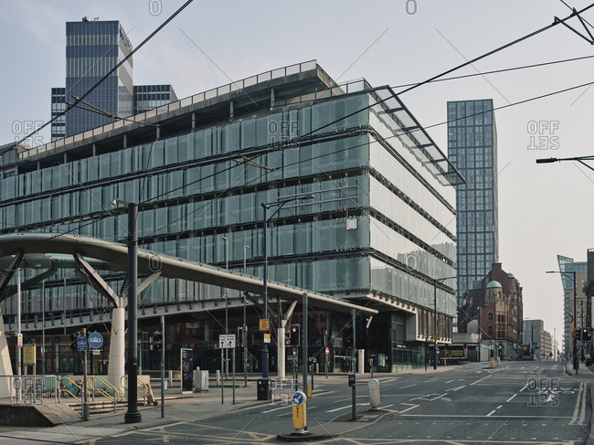 Manchester, United Kingdom - April 25, 2020: Deserted city center streets during lockdown period in the Coronavirus pandemic.