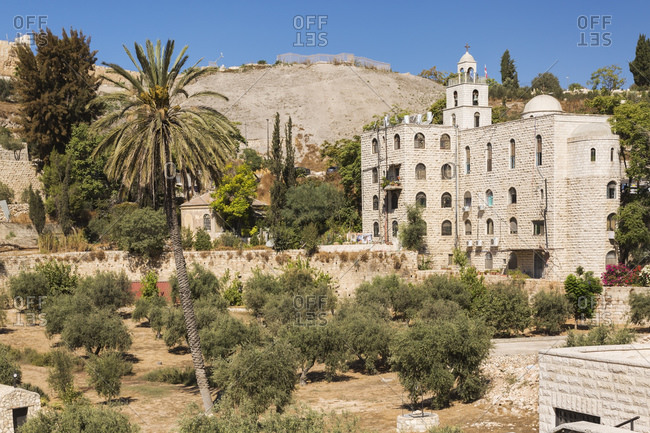 Cemetery with olive trees at the foot of the fortified stone wall of the Old City of Jerusalem, Israel.