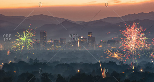 Independence Day fireworks over the City of Denver, Colorado, USA.