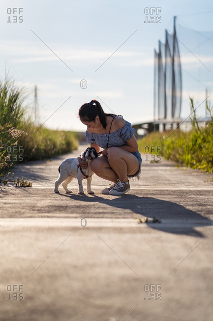 Asian female in casual wear cuddling gently American Cocker Spaniel while squatting on walkway between grass behind skyscraper under cloudy sky